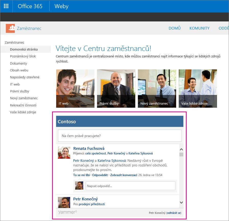 Vlastní informační kanál Yammeru vložený na stránce SharePointu