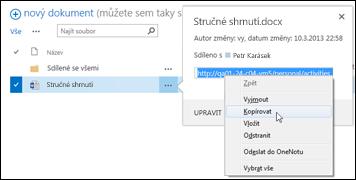 Adresa URL sharepointového dokumentu v popisku dokumentu