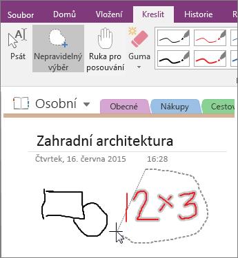 Snímek obrazovky s použitím tlačítka Nepravidelný výběr ve OneNotu 2016