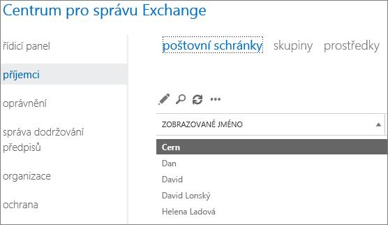 Vyhledání poštovních schránek v Centru pro správu Exchange a řešení kódu oznámení o doručení 5.7.134