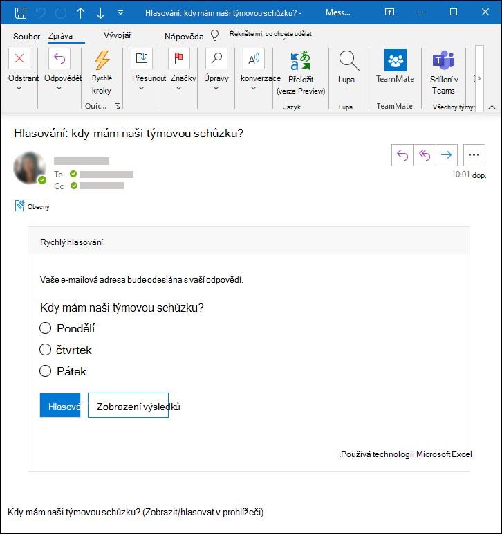 Hlasování v Aplikaci Microsoft Forms v e-mailové zprávě aplikace Outlook