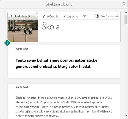 Snímek obrazovky se Swayem vytvořeným pomocí Rychlého automatu.