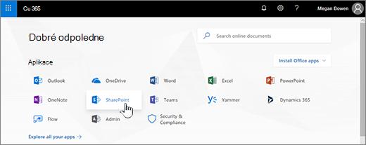 Úvodní stránku Office 365 s vybranou možností SharePoint