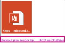 E-mail s přílohou Zvýrazněné odkazy Stáhnout a Uložit na OneDrive
