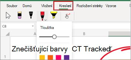 Snímek obrazovky s nabídkou Kreslení v Excelu pro web