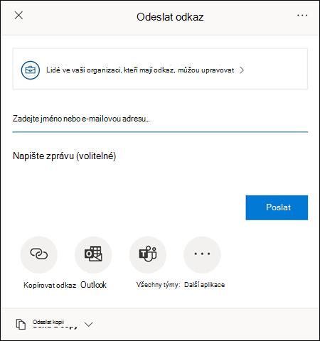 Dialog Sdílet umožňuje pozvat další, aby měli přístup k souboru.