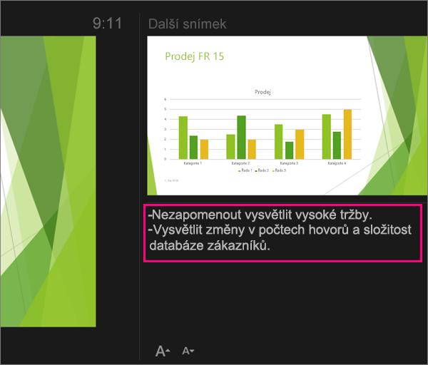 Zobrazení poznámek v zobrazení prezentujícího v PowerPointu 2016 pro Mac