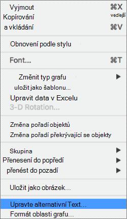 Místní nabídka pro grafy s vybranou možností alternativní text