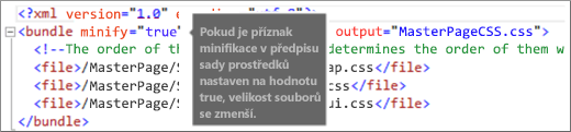 Snímek obrazovky s příznakem minify nastaveným na true