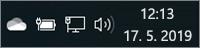 Bílá ikona OneDrivu na hlavním panelu