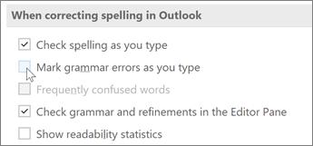 Zrušení zaškrtnutí políčka označit gramatické chyby při psaní
