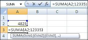 Sečtení buňky a hodnoty pomocí funkce SUMA