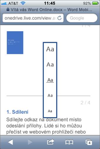 Výběr velikosti písma v prohlížeči Word Mobile Viewer
