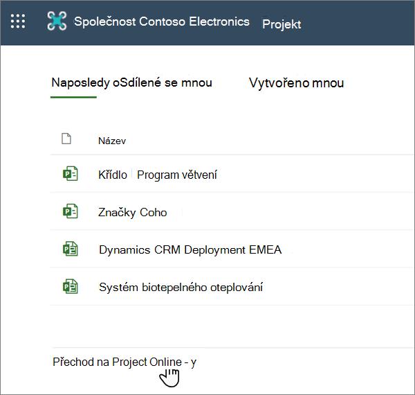 Možnost přejít na Project Web App v Projectu