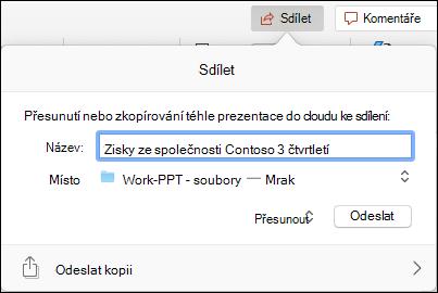 Dialogové okno s nabídkou nahrání prezentace do cloudového úložiště Microsoftu pro bezproblémové sdílení.