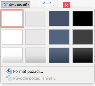 PowerPoint pro Mac – nabídka Styl pozadí