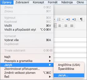 Nabídka Upravit > Jazyk v Outlooku 2016 pro Mac