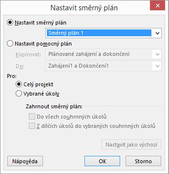 Snímek obrazovky s dialogovým oknem Nastavit směrný plán.
