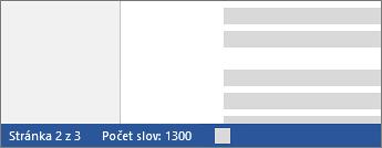 Počet slov na stavovém řádku