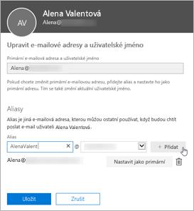 Zadání nové e-mailové adresy a její potvrzení volbou Přidat uživatele