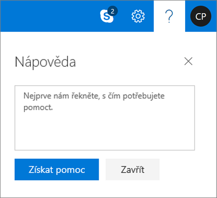 Snímek obrazovky zobrazuje dialogové okno nápovědy, kde můžete zadat informace o problému a klikněte na tlačítko získat nápovědu.