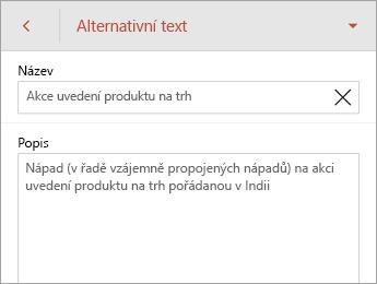 Příkaz Alternativní text na kartě Obrazec