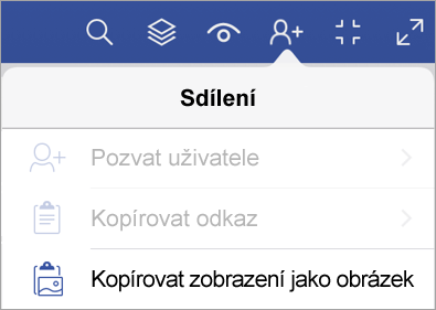 Možnosti sdílení ve Visio Vieweru pro iPad