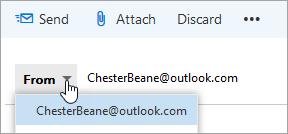 Snímek obrazovky s rozevírací nabídkou adresy Od.
