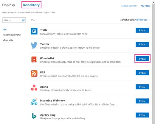 Snímek obrazovky s dostupnými připojenými službami v Outlooku 2016