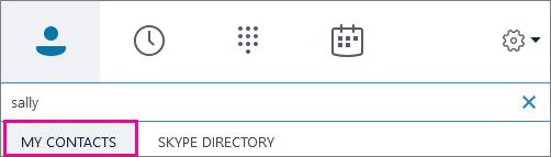 Když je zvýrazněna možnost Kontakty, můžete hledat vadresáři organizace.