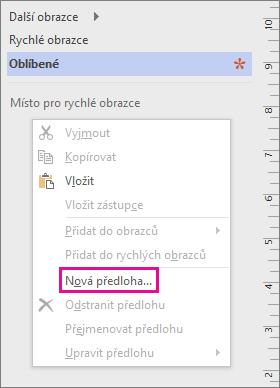 Klikněte pravým tlačítkem v okně Obrazce (pod seznamem vzorníků) a pak klikněte na Nová předloha.