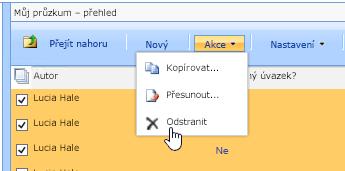 Tlačítko Akce klikněte na Odstranit můžete odstranit vybraná data
