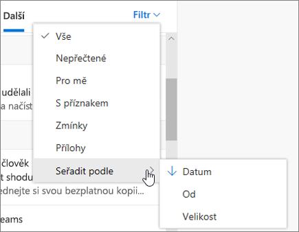 Filtrování e-mailů vOutlooku na webu