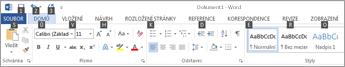 Stisknutím klávesy ALT nebo F10 zobrazíte klávesové zkratky na pásu karet.