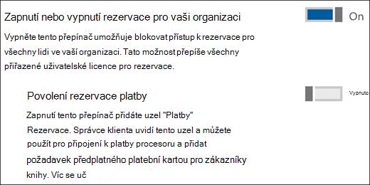 Snímek obrazovky: zobrazující ovládací prvek správce rezervace ze stránky služby a doplňky