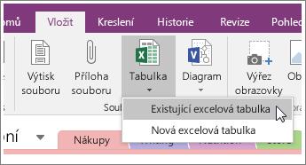 Snímek obrazovky s tlačítkem Vložit tabulku v OneNotu 2016