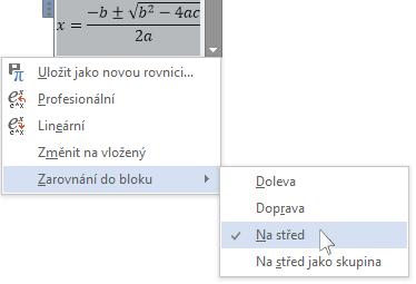 Ovládací prvek rovnice