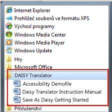 Nabídka Start se soubory Daisy po instalaci