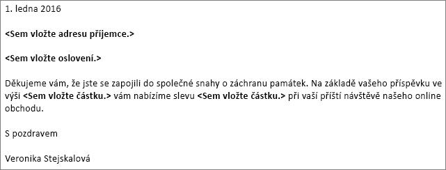 Ukázka dopisu ve Wordu, který se dá použít pro hromadnou korespondenci.