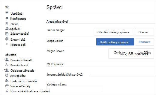 Snímek obrazovky se seznamem správců