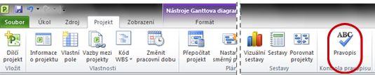 Tlačítko Pravopis na pásu karet aplikace Project