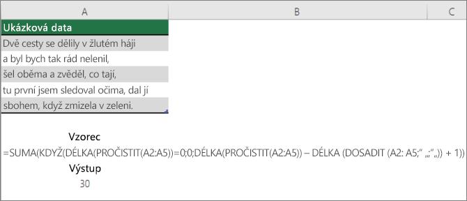 Příklad vnořeného vzorce pro počítání slov