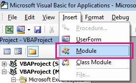 V nabídce Vložit klikněte na modul.