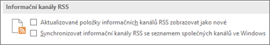 the RSS Feeds section of the Options dialog