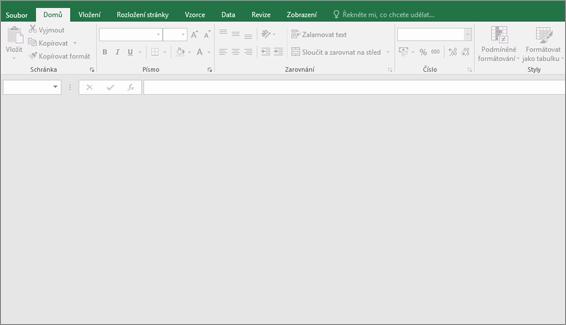 Prázdné okno aplikace Excel s tlačítky nedostupné. Žádné sešit otevřený.