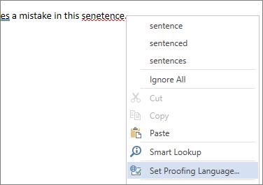 Příkaz Nastavit jazyk kontroly pravopisu v nabídce zobrazené po kliknutí pravým tlačítkem na chybně napsané slovo