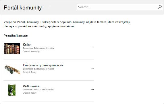 Příklad portálu komunity