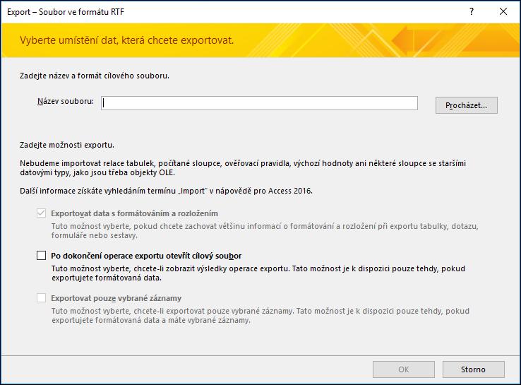 Vyberte cílové umístění a možnosti exportu v dialogovém okně Export – Soubor ve formátu RTF.