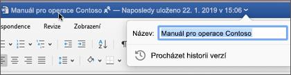 Kliknutím na název dokumentu můžete soubor přejmenovat nebo zobrazit historii verzí