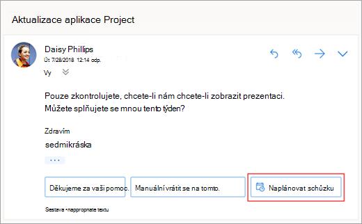 Snímek obrazovky s navrhovanou odpovědí pro naplánování schůzky